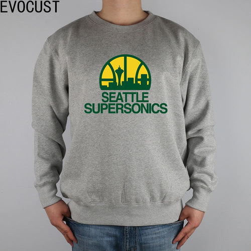 Seattle Supersonics  men Sweatshirts Thick Combed Cotton