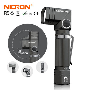 Magnetic NICRON LED Flashlight With 90 Degree Twist Rotary Clip Mini Lighting LED Torch Outdoor N7