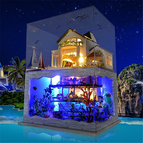 DIY Dollhouse Miniature Hawaii Villa House With Light & Cover - Hush Hobbies