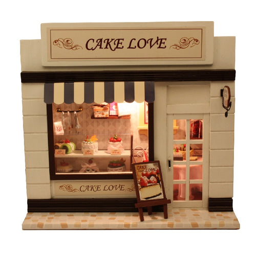 DIY Wooden Miniature Dollhouse - Europe Shop Cake Love - Hush Hobbies