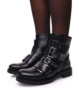 BOTTINES NOIRES À SANGLES MULTIPLES