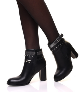 BOTTINES NOIRES À TALON AVEC DE MULTIPLES SANGLES