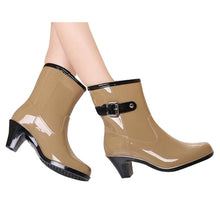 Charger l'image dans la galerie, HEE GRAND Buckle Design Woman Rainning Shoes Mid-calf Women RainBoots Fashion Rubber Waterproof Thick Heel Boots XWX2952