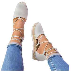 3ddf9508bd Womens Flat Lace-Up Espadrilles Summer Chunky Holiday Sandals Shoes St –  MyShoes.ma