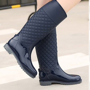 HEE GRAND Women Rubber Water Boots Medium Heel Woman Rainboots Slip-on Fashion Rainning Shoes For Ladies Mujer Booties XWD4579