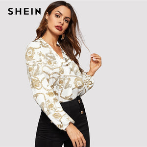 SHEIN Office Lady White Cut-out V Neck Chain Print Top 2019 Elegant Workwear Long Sleeve Blouse Women Autumn Top Blouses