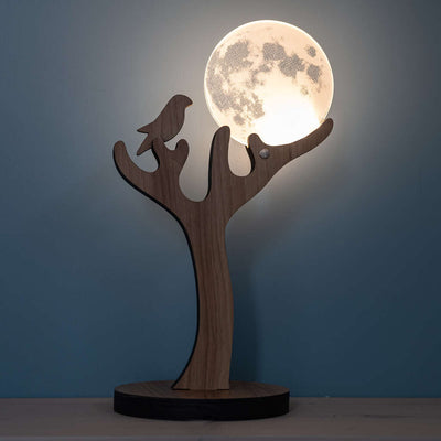 3D illusion moon bird lamp England.