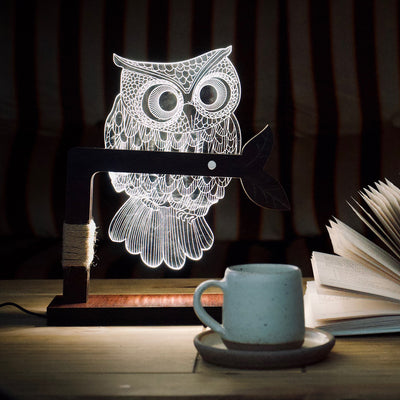 3D Illusion Owl Lamp England