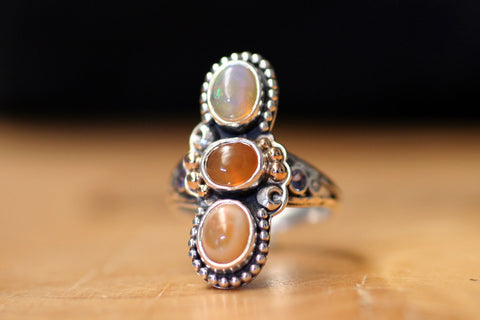 3-stone Mexican Opal Ring