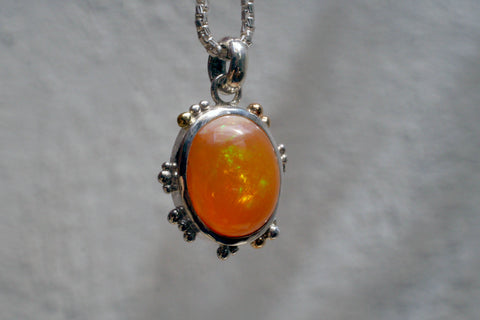 Speckle Fire Opal Pendant with Gold