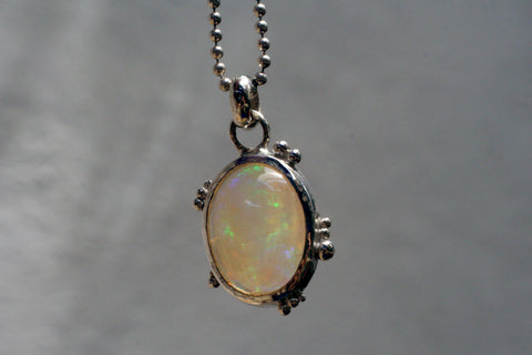 Speckle Fire Opal Pendant with Moon
