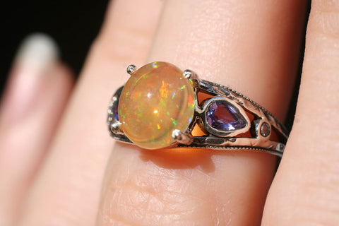 Mexican Opal Engagement Ring