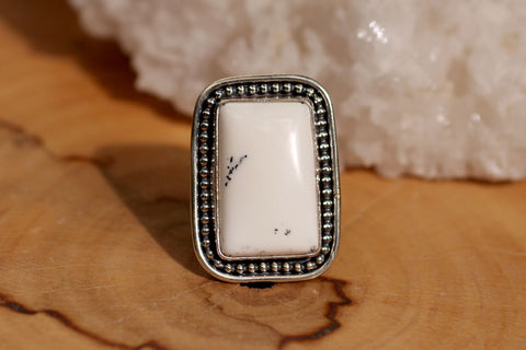 White Dendrite Opal Ring Size 8