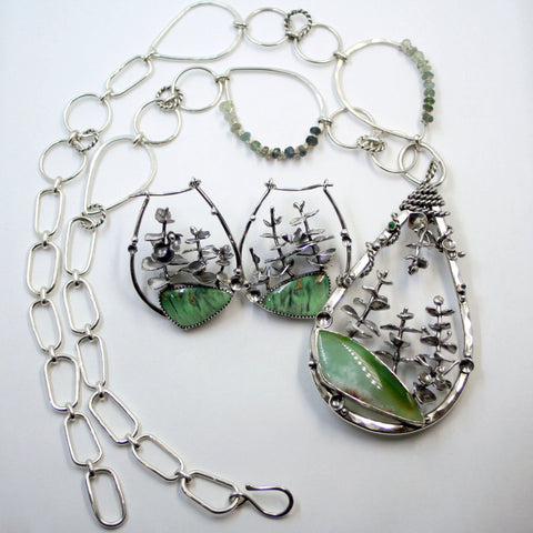 Eucalyptus Necklace and Earring Set