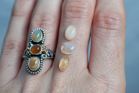 Bespoke 3-stone Mexican Opal Rings
