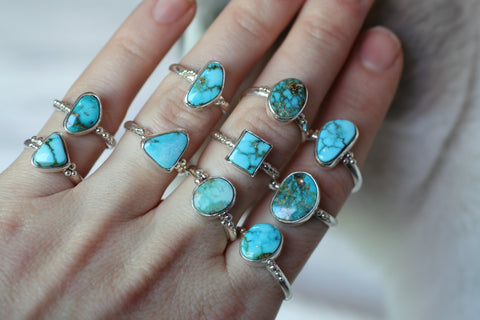 Turquoise Speckle Rings