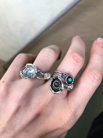 Water Cast Rings size 7.5