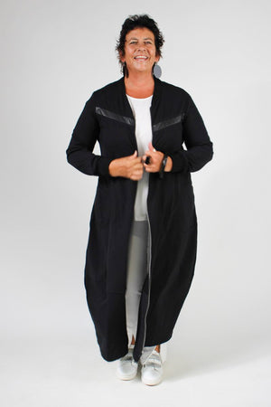 Sabatini Coat - Cocoon Leather Trim Cotton Black