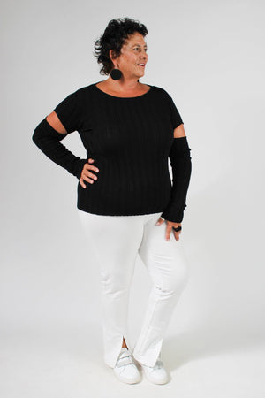Sabatini Window Sleeve Rib Top - Cut out top