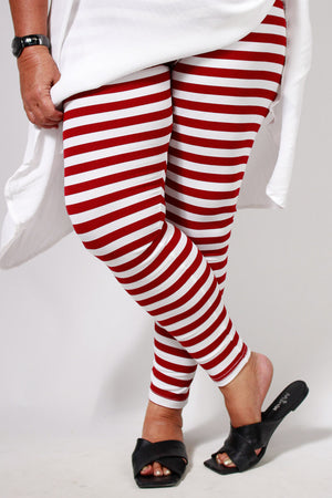 TCD Leggings - Burgundy Stripe