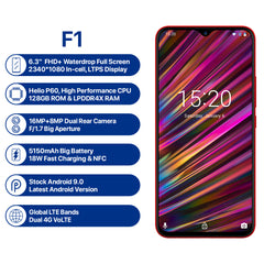 UMIDIGI F1 Android 9.0 Global Bands 6.3 Inch FHD+ NFC 5150mAh 4GB 128GB Helio P60 4G Smartphone