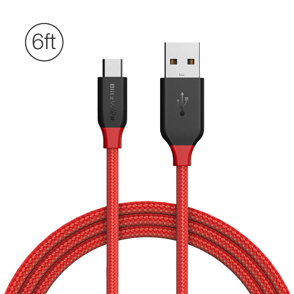BlitzWolf® Ampcore BW-MC5 2.4A Micro USB Braided Data Cable 6ft/1.8m for Samsung S7 Redmi Note 4