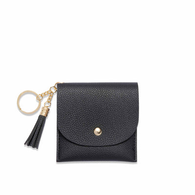 Lark and Ives Black Card Purse with Gold Hardware and Tassel / Mini Wallet / Flap Wallet