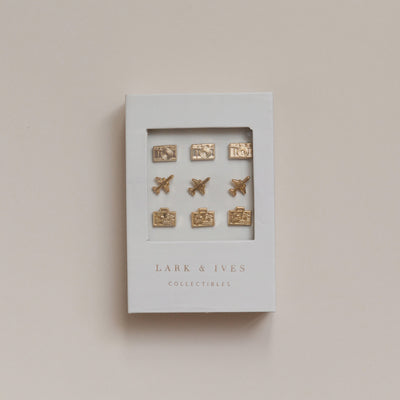 Lark and Ives Pins / Gold Pin / Lapel Pin / Pin Accessory / Travel Theme