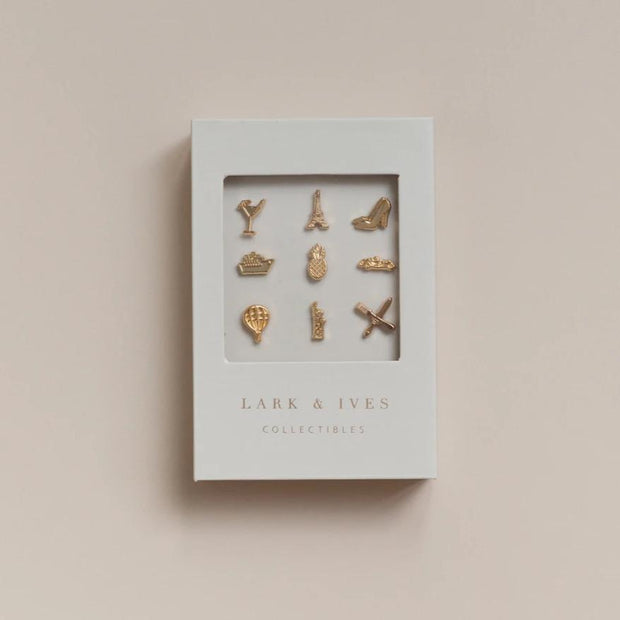 Lark and Ives Luggage Tag with Pins / Country Pins / Lapel Pins / Pin Accessory / Vegan Leather Accessories