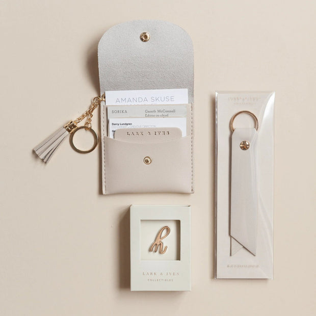 Lark and Ives Beige Card Purse with Pin and Keyholder / Wallet with Pin and Keychain / Lapel Pin / Keychain / Vegan Leather Accessories
