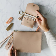 Lark and Ives Nude Card Purse and Clutch with Pin / Mini wallet and Clutch / Wallet with Clutch and Pin / Vegan Leather Accessories