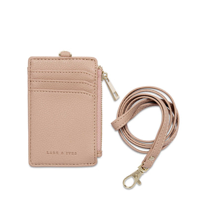Lar and Ives Nude Lanyard / Card Case with Long Strap and Zippered Compartment / Vegan Leather Accessories