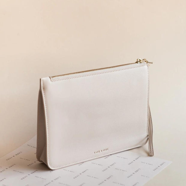 Lark and Ives Beige Clutch / Minimal Purse / Vegan Leather Accessories