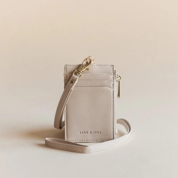 Lark and Ives Beige Lanyard Cardholder / Vegan Leather Accessories