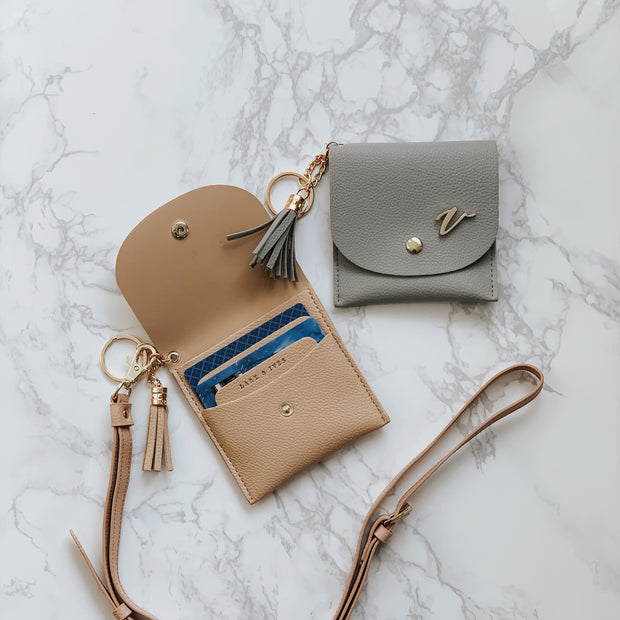 Lark and Ives Card Purse with Strap and Pin / Wallet with Strap / Lapel Pin / Vegan Leather Accessories