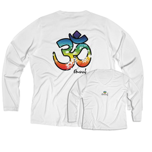 Athletic Moisture Wicking Long Sleeve V-neck Tee (Chakra Om)