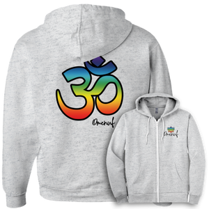 Chakra Om Zip-up Unisex Hoodie (Front & Back Print)