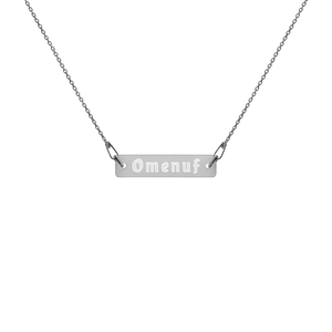 "OMENUF Engraved Silver Bar Chain Necklace (16-18"")"