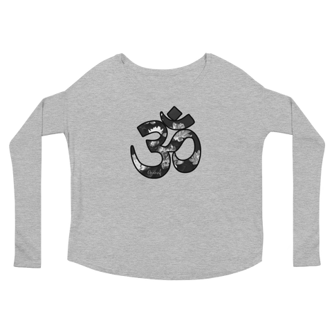 Drop Shoulder Long Sleeve Tee (Om with Lotus)