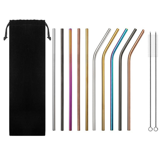 10Pcs Colorful Stainless Steel Straws Reusable Drinking Straw with Cleaner Brush & Bag