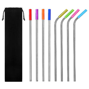 Reusable Stainless Steel Drinking Straws with Silicone Tips & Cleaning Brush