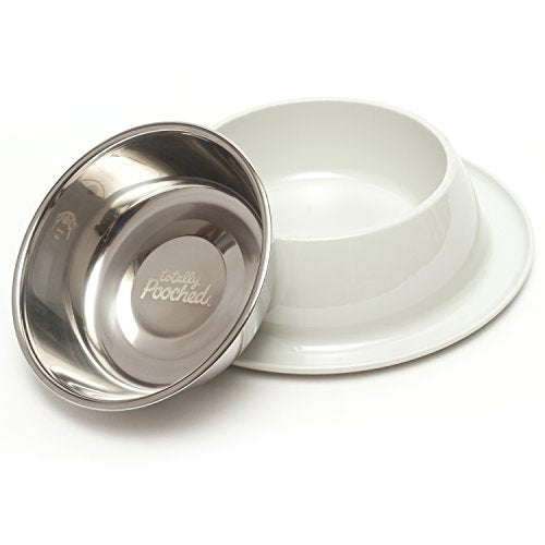 2x Totally Pooched Pet Stainless Steel Single Diner with Non-Slip Melamine Base White