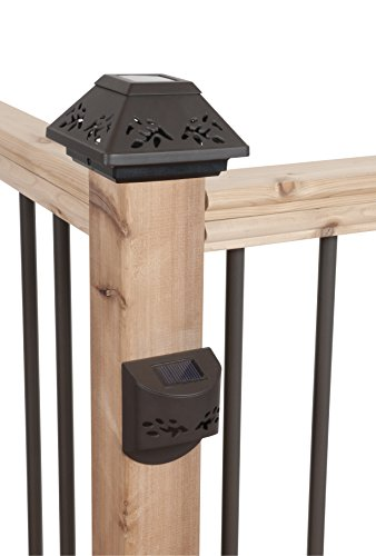 Fusion Solar Post Cap & Step Light Fencing Set for 4x4 Wood Posts (Bronze, 6 Piece Set)