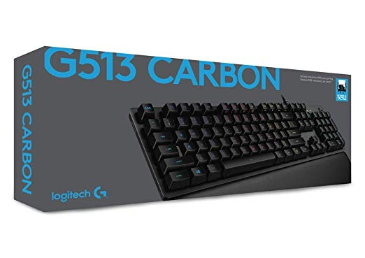 Logitech G513 RGB Backlit Mechanical Gaming Keyboard with Romer-G Tactile Keyswitches (Carbon)