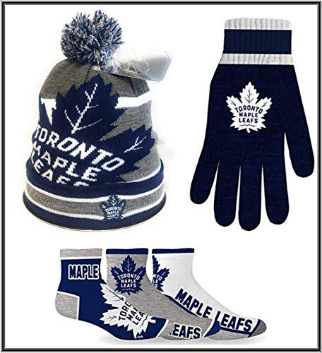 Toronto Maple Leafs NHL Licenced Winter Bundle (Beanie,Gloves & Socks) Great Gift for All Leafs Lovers. GO Leafs GO (Leafs Bundle 2)