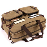 Canvas Multifunction Briefcase/Messenger/Laptop Backpack Khaki