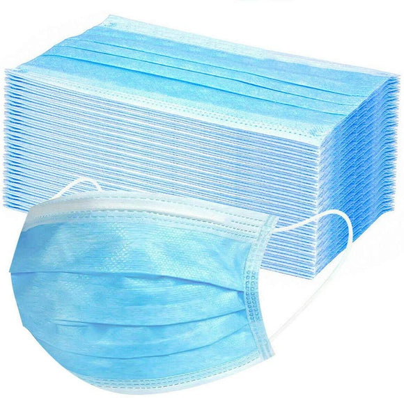 50 Pack 3-layer Face Masks with Elastic Ear Loop Dustproof Anti-bacteria Disposable Protection - DealsandLiquidations.com