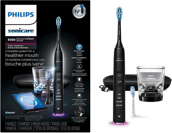 Philips Sonicare DiamondClean Smart 9350 Rechargeable Electric Toothbrush with Bluetooth Connectivity & Travel Case, Black, HX9902/66 - DealsandLiquidations.com