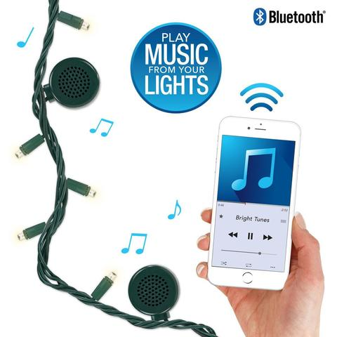 Bright Tunes Decorative String Lights with 4 Bluetooth Speakers, 80 White or Multi Colored LED Lights, Green Cord, 26-Feet