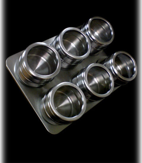 Stainless Steel Spice Rack with 6 Magnetic Jars - DealsandLiquidations.com